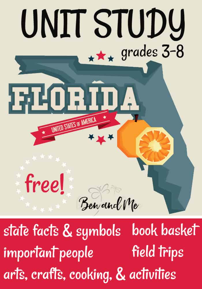 "FREE Florida Unit Study for grades 3-8 -- learn about the ""Sunshine State"" with books, arts and crafts, recipes, and more! #unitstudies #homeschool #homeschooling #geography"