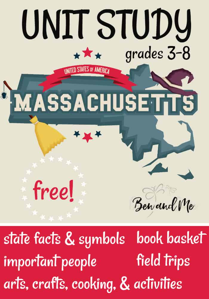 "FREE Masssachusetts Unit Study for grades 3-8 -- learn about the ""birthplace of the American Revolution"" with books, arts and crafts, recipes, and more! #unitstudies #homeschool #homeschooling #geography"
