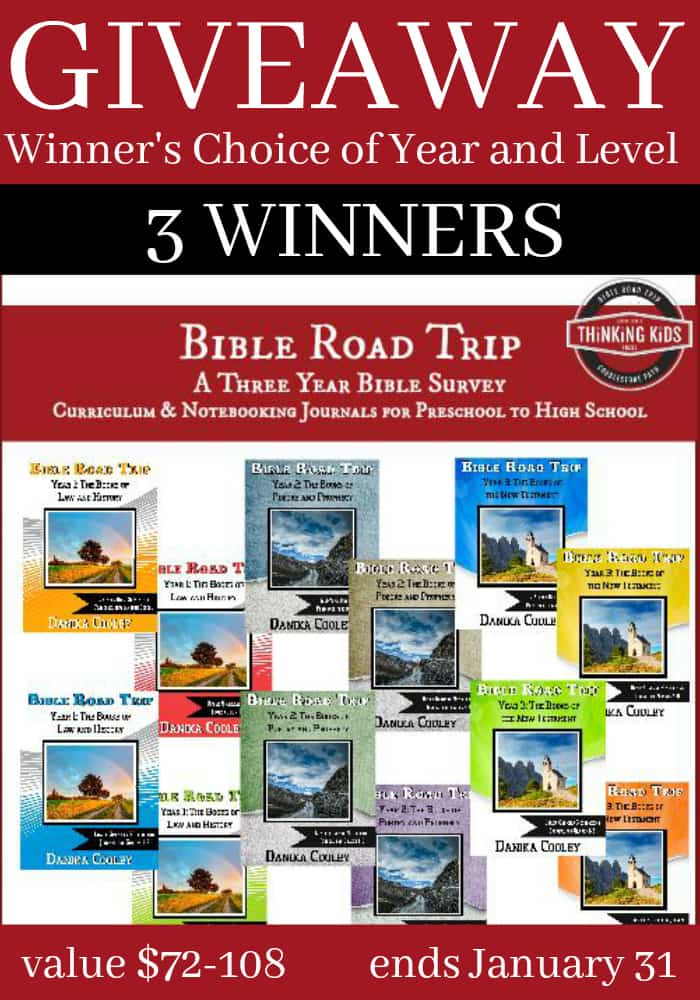 We are offering a GIVEAWAY of your choice of Bible Road Trip curriculum (year one, year two, or year three), including a Notebooking Journal and Memory Card Set (value of $72-108). You choose your year and level! Giveaway ends January 31.