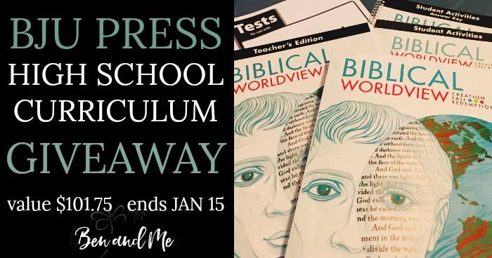 BJU Press Biblical Worldview High School Homeschool Giveaway