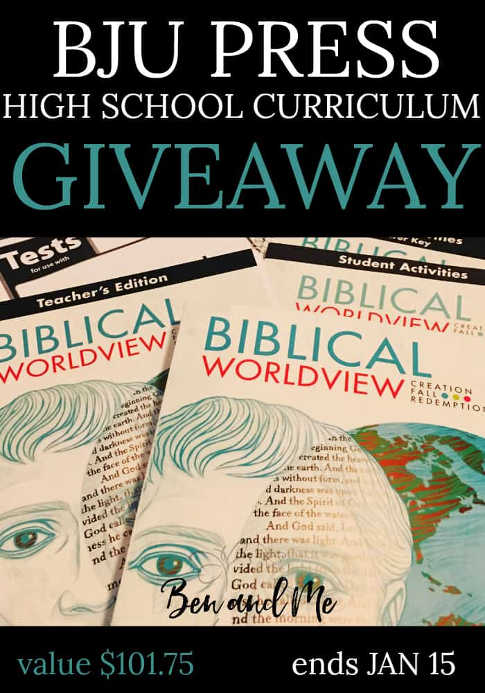 We want one of you to have a copy of theBiblical Worldview: Creation, Fall, Redemptioncomplete curriculum set, so we're offering this giveaway, sponsored by BJU Press/Homeworks by Precept. One winner will receive the complete curriculum kit in your choice of KJV or ESV. Total value of this giveaway is $101.75! Giveaway ends January 15, 2018.