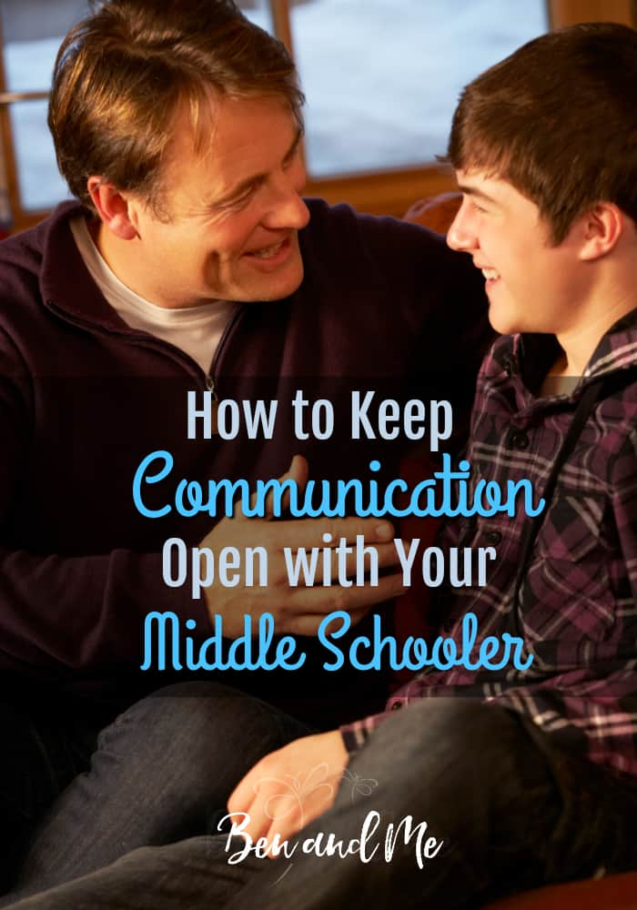 Middle schoolers need their parents to help guide them through this difficult time in their life. However, instead of drawing closer to their parents many tweens stop talking and become more withdrawn. It's up to you to find ways to get through to your child and make a connection so you know what's going on in his life. Here are 6 proven ways to keep communication open with your middle schooler. #parenting #middleschool #tweens