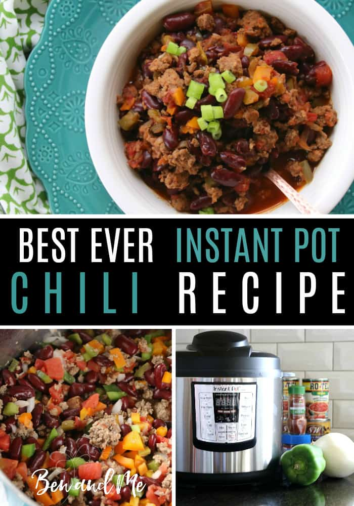 My friend Shelly makes the best ever instant pot chili. This is a super hearty chili, chock-full of all kinds of goodness -- meat, beans, peppers, tomatoes, just the right amount of spice and an ingredient you might not expect -- beer.