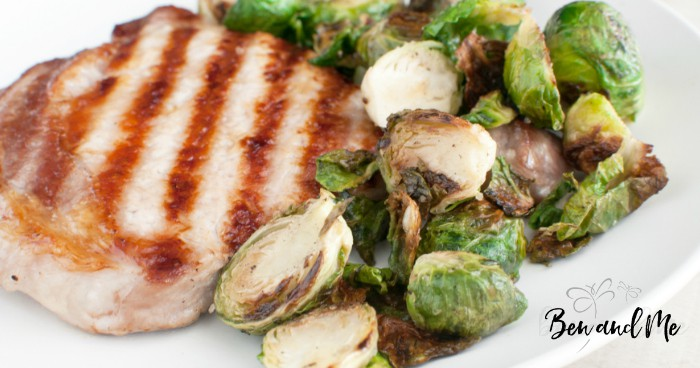 Winter in Vermont means a few things: maple syrup, pork, and Brussels sprouts. After mulling over this combination, this recipe of maple pork chops and Brussels sprouts was created. #porkchops #maplesyrup #maplesyruprecipes #brusslessprouts #recipes #Vermontrecipes