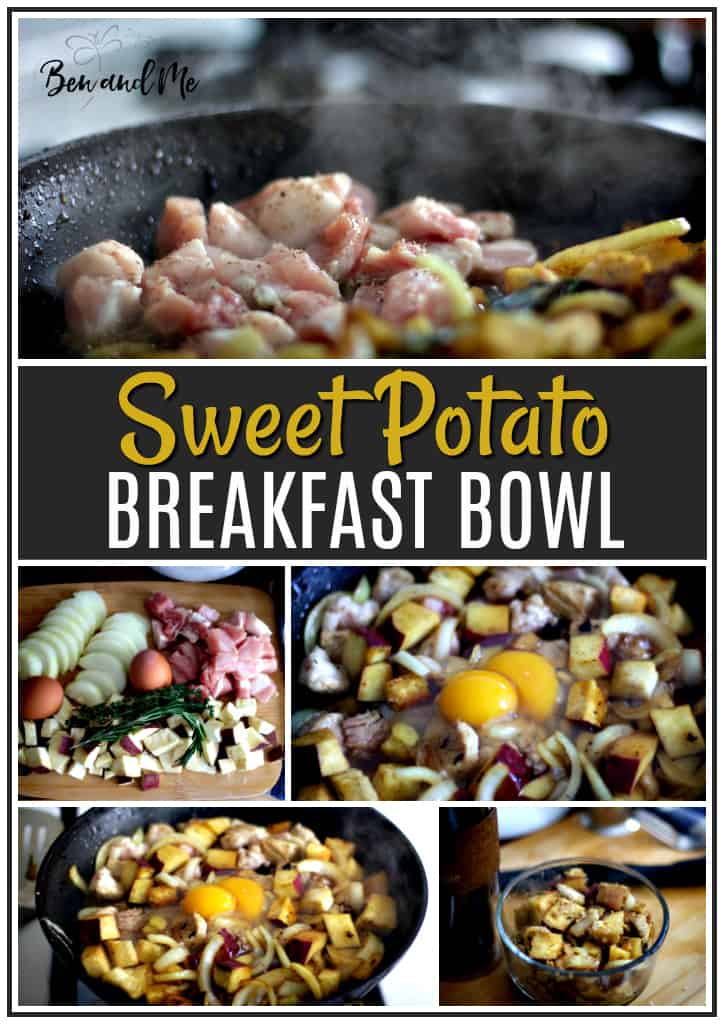 Enjoy this effortless breakfast bowl made with sweet Japanese sweet potato, pork cutlet, onion, eggs, maple syrup and healthy herbs and spices. #breakfast #breakfastbowl #recipes #breakfastrecipe
