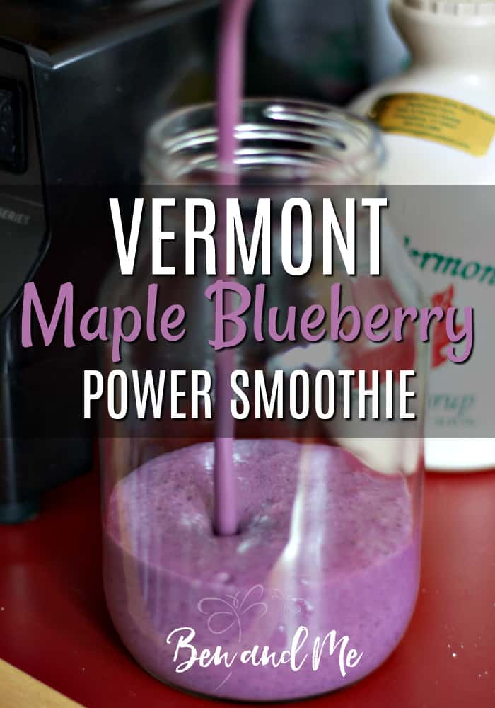 Enjoy this delicious Vermont Maple Blueberry Power Smoothie for breakfast, after a work-out , or as an evening snack! It's full of healthy ingredients to give you the boost you need! #smoothie #smoothierecipes #maplesyrup #blueberries