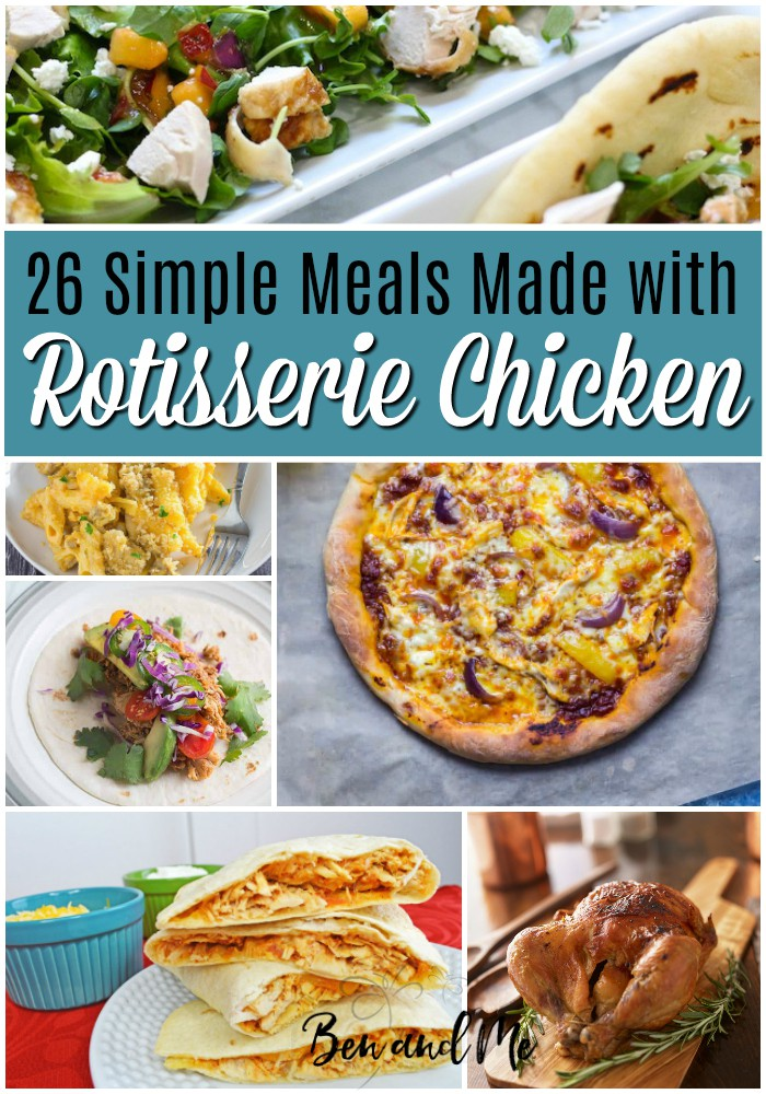 Rotisserie chicken is such a versatile food.  If you're tired of eating it alone, try adding it to some amazing recipes to create an epic dinner.  Not only does it add a fun flavor that can't be beaten, it helps to combine some delicious ingredients to tempt the taste buds in your mouth.  Here are 26 meals you can make with rotisserie chicken. #recipes #rotisseriechickenrecipes #rotisseriechicken #chickenrecipes