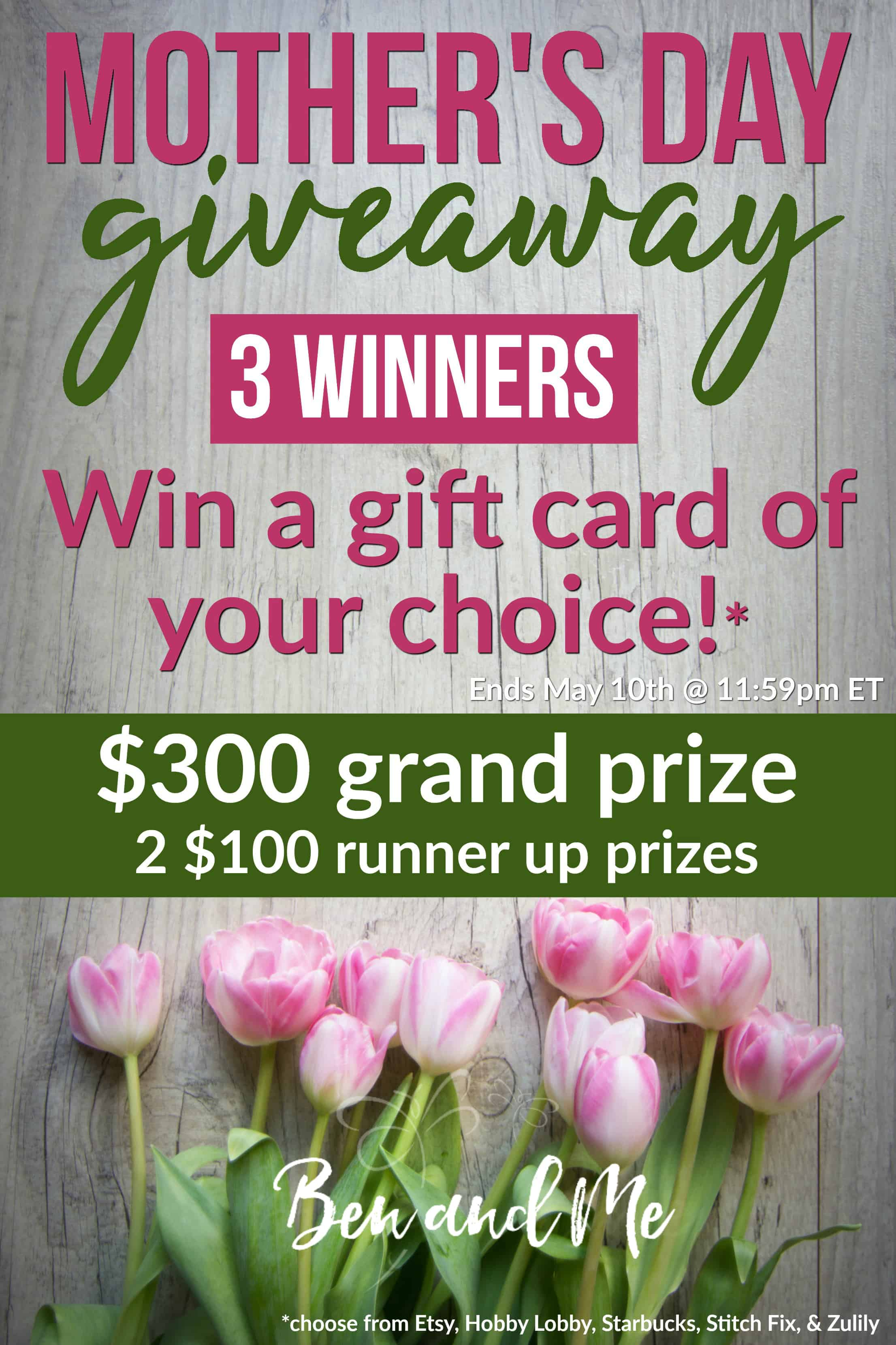 There will be THREE winners in this Mother's Day giveaway - each winner getting to choose a gift card to the place of their choice. #mothersday #moms #giveaway