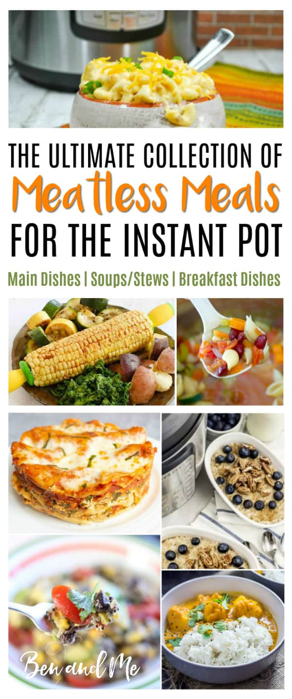 The Instant Pot pressure cooker is a great kitchen tool for vegetarians or those who want to cut their grocery budget by cooking occasional meatless meals. Here is the ultimate collection of meatless meals for the Instant  Pot pressure cooker! #instantpot #instapot #instantpotrecipes #recipes #recipe #pressurecooker #pressurecookerrecipes #maindishes #breakfast #soupsandstews
