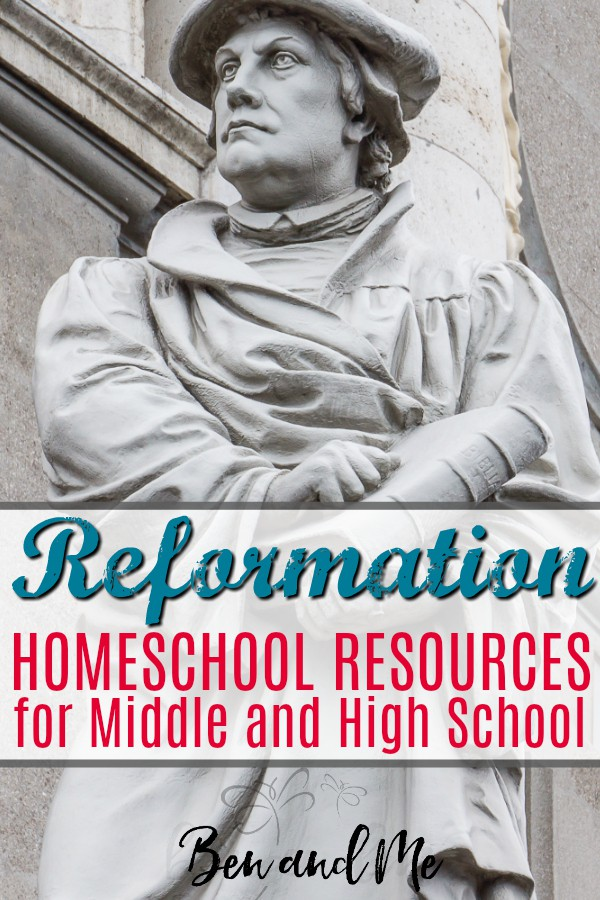 Here are a few Reformation homeschool resources you can use to learn more about Reformation Day and the Protestant reformers such as John Wycliffe and Martin Luther. These resources will work well for a family study or for a homeschool study for middle and high school students. #homeschool #highschool #middleschool #reformation #reformationday #martinluther #johnwycliffe #johncalvin #johnknox