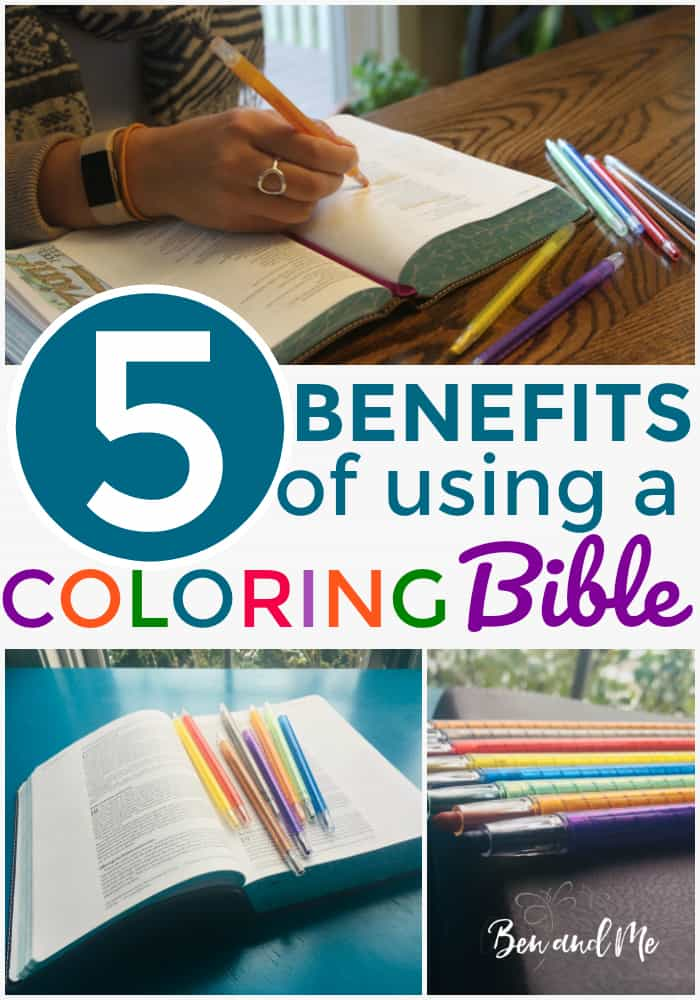 Some might think that coloring Bibles are only useful for decorating our Bibles, but I want to propose that there are actually meaningful benefits to using a coloring a Bible. Here are 5 benefits of using a coloring Bible. #coloringBible #journalingBible #Biblejournal #Biblejournaling #adultcoloring #womenoffaith #Biblestudytools #womensBiblestudy