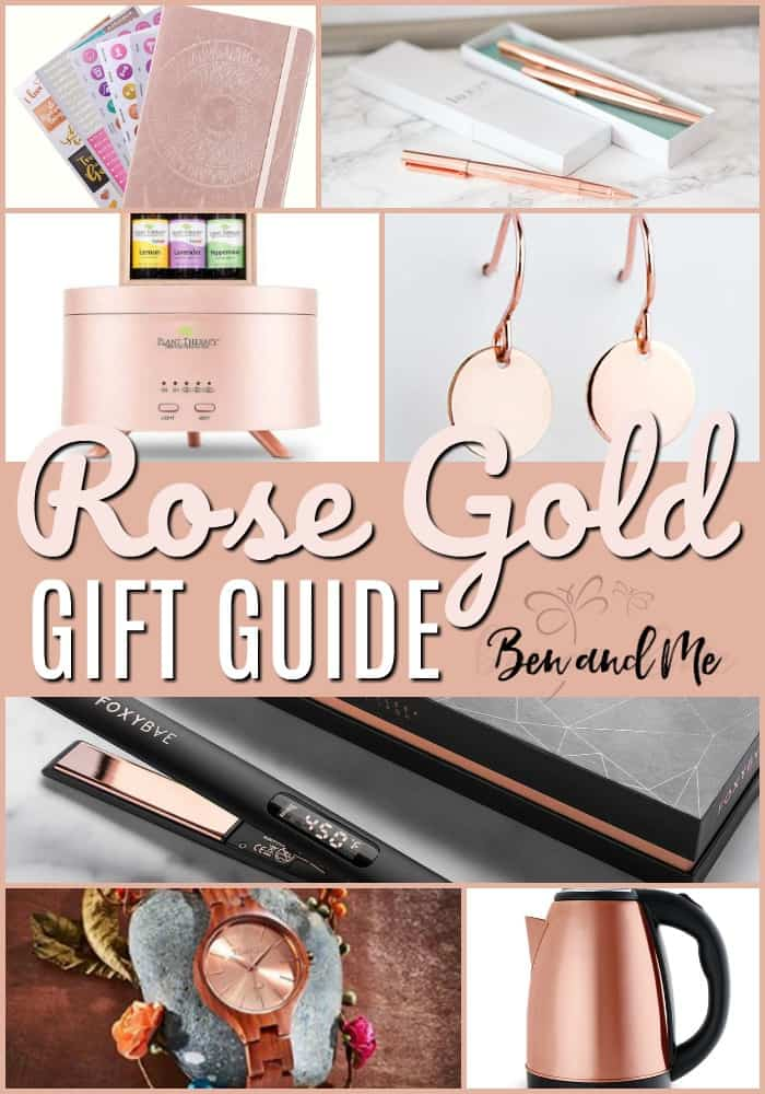 The popularity of rose gold is astronomical right now, so it seemed fitting to put together a rose gold gift guide to give you ideas for gifts for the rose gold lover in your life.  #giftguide #giftguides #giftideas #rosegold #giftsforher