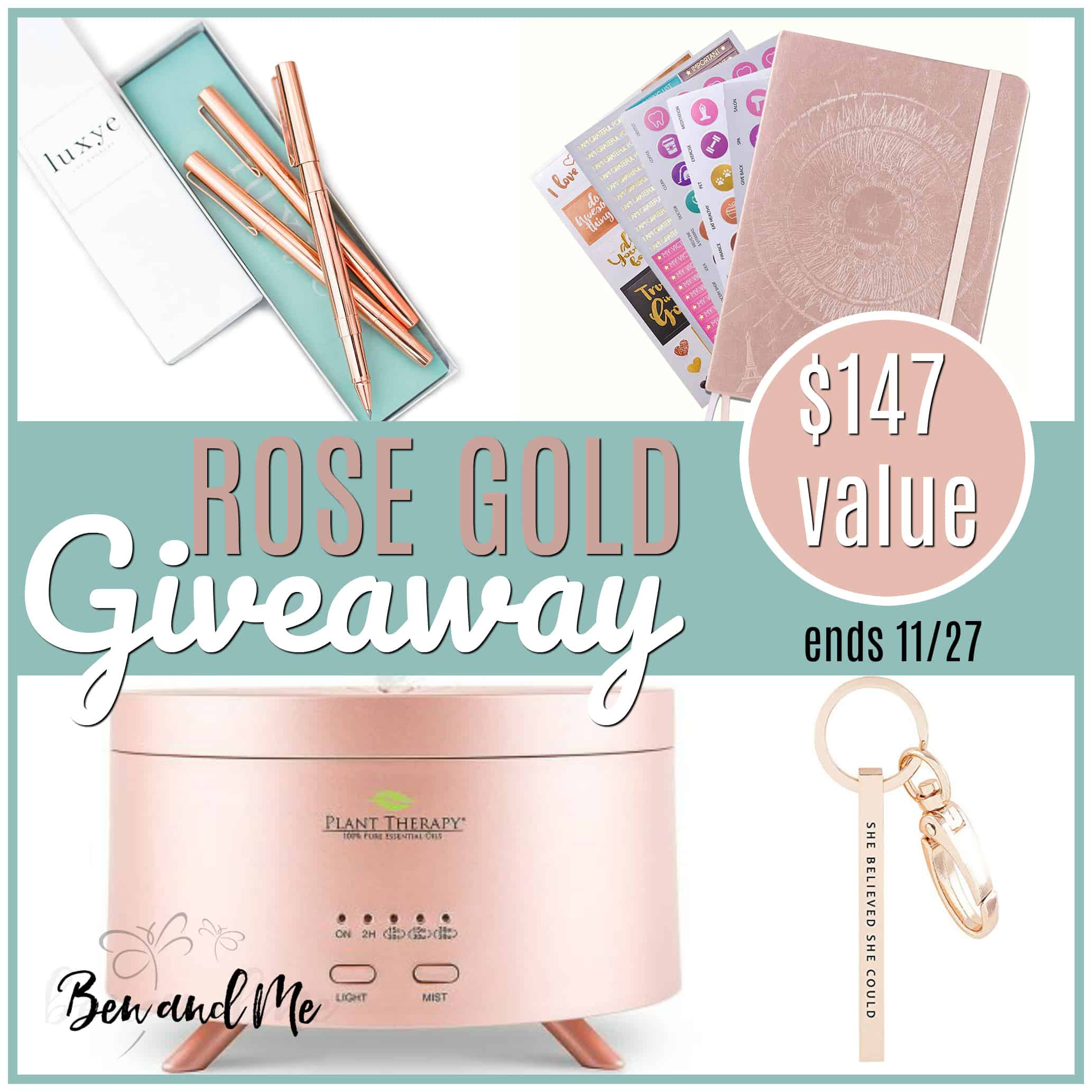 Check out this rose gold gift guide and enter to win a bundle of rose gold gifts for yourself! #giveaways #giftguide #giftguides #giftideas #rosegold #giftsforher
