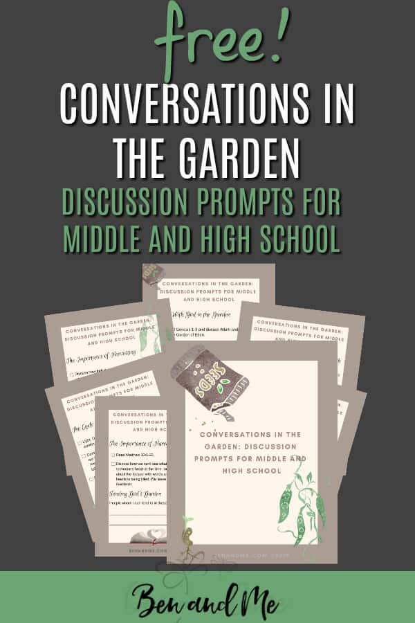 Use this free printable with discussion prompts to help your teens make the connections between gardening and the Master Gardener. #parentingteens #conversationstarters #christianparents #christianparenting #parentingtips #freeprintables