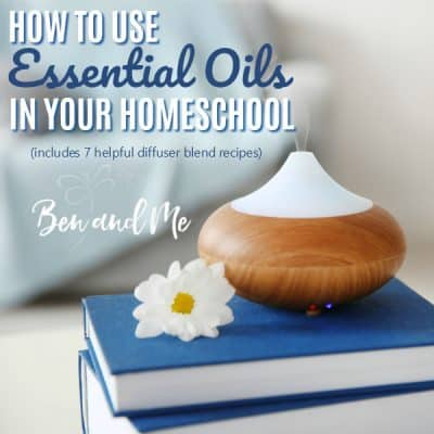 From diffusing to topical application, focus and stress control to cleaning your homeschool room, school-age children can reap the benefits of using essential oils in your homeschool. #homeschooling #aromatherapy #essentialoils #homeschoolmoms