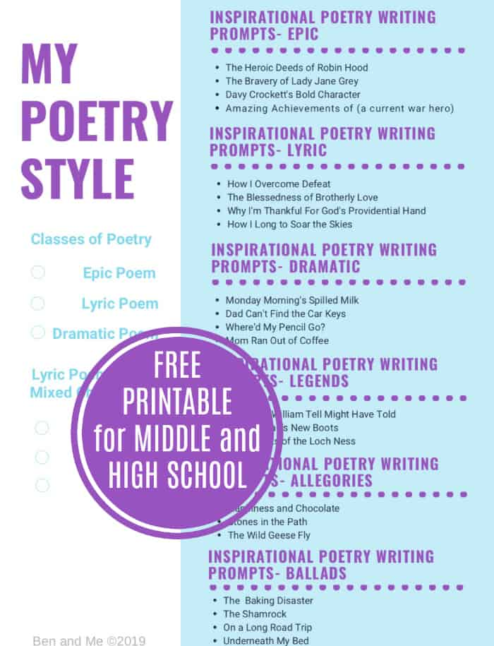 Download this free poetry writing prompts printable. to help inspire your teens in their poetry writing. #homeschool #homeschooling #poetry #poems #writing #middleschool