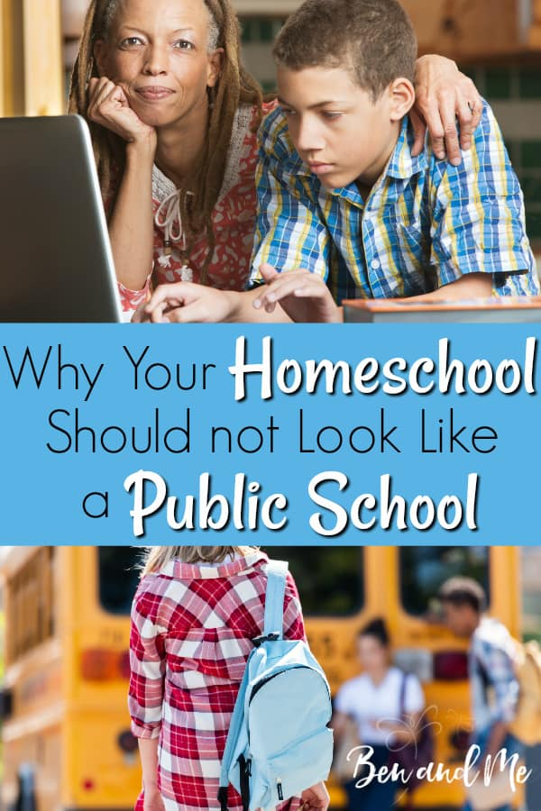 There are as many looks to a homeschool as there are homeschool families, and I would never expect yours to look just like mine, I do want to share my take on why your homeschool should not look like a public school. #homeschool #homeschooling #publicschool