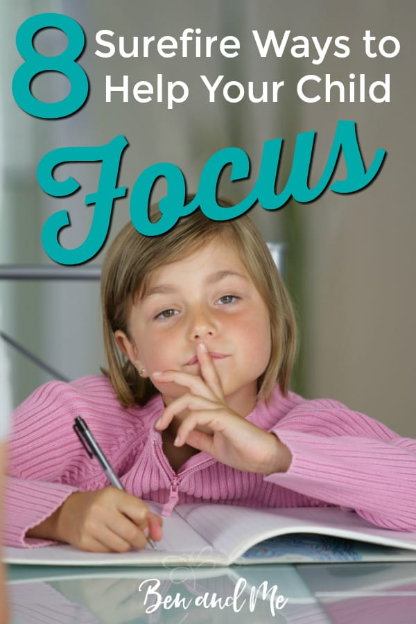 The key to getting your child to focus is to consistently stick to the lessons you are trying to teach them. When working towards a better attention span try a combination of techniques until you find what works for your child. #ADHD #ADHDstrategies #improvedfocus #homeschooling #parenting #ADHDkids #ADHDteens #homeschoolmoms #helpyourchildfocus #ADHDparenting