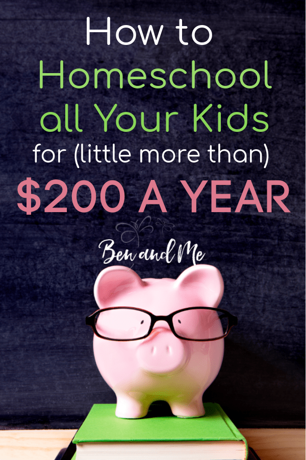 Homeschooling doesn't have to be expensive. Here's how to homeschool all your kids for a little over $200 a year. #homeschool #homeschooling #howtohomeschool #frugalhomeschool #homeschoollife #homeschoolmom