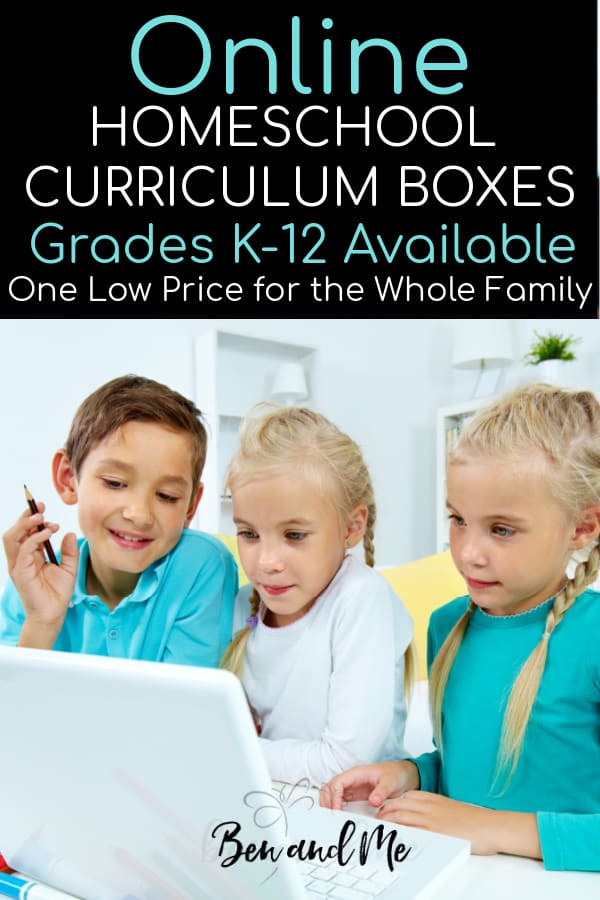Take a look at these Online Homeschool Curriculum Boxe! Curriculum all planned out for all of your children for one low price. More than 450 courses total, so you customize if you wish. #homeschool #homeschoolcurriculum #onlinehomeschool #onlinecurriculum #howtohomeschool