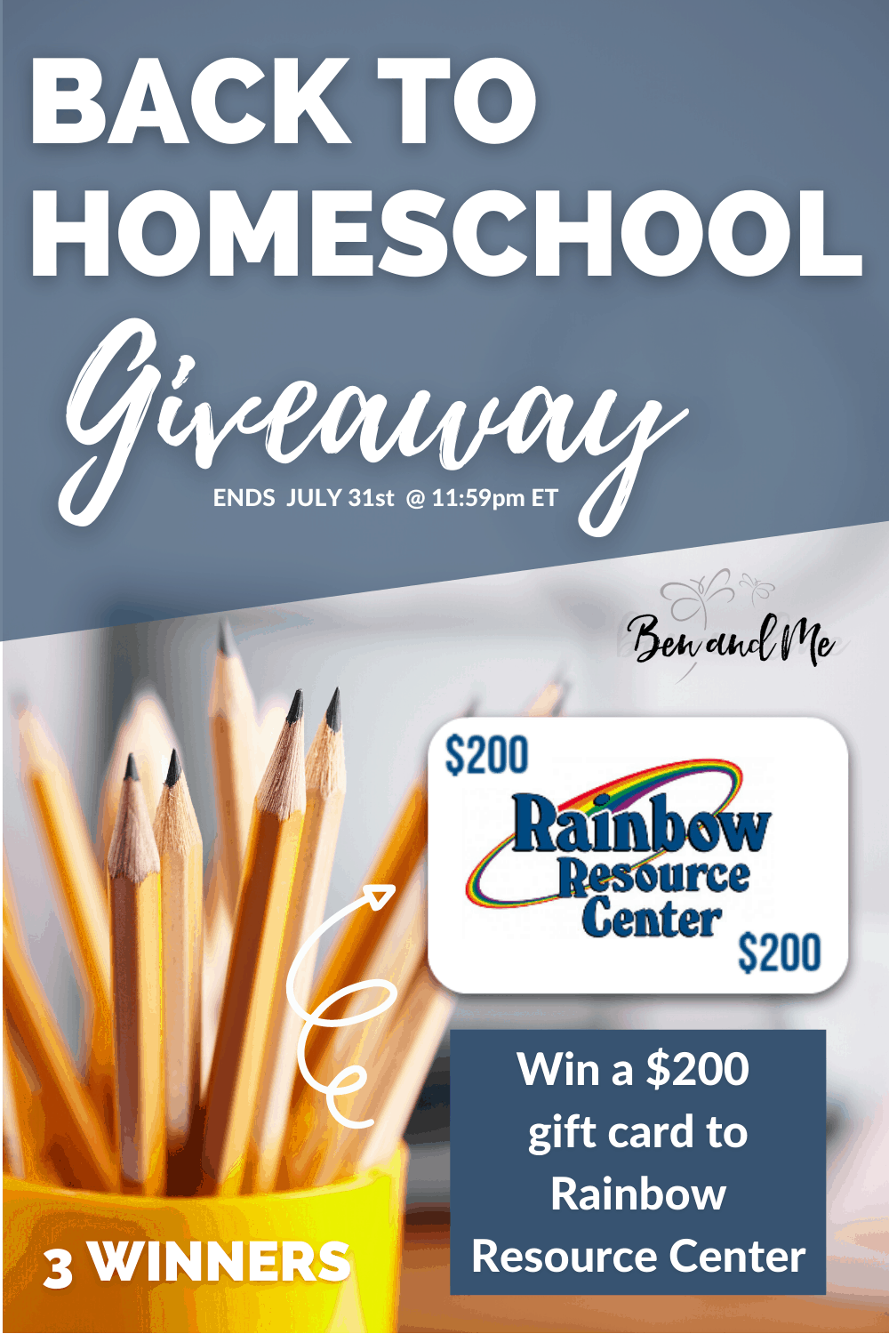 I've teamed up with a great group of homeschool bloggers that would like to help and bless a few homeschool families this year. We wish we could bless more, but we will be able to give THREE families $200 to spend at Rainbow Resource Center to buy curriculum, resources, and supplies for their homeschools. #homeschool #homeschoolgiveaways #homeschoolcurriculum