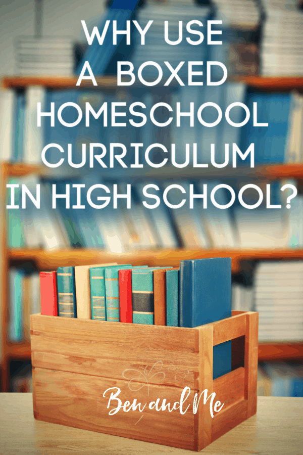Are you wondering if using a boxed homeschool curriculum is the best option for your high school student. Here, we're looking at the both the benefits and disadvantages to help you weight the option. #homeschool #homeschoolcurriclum #homeschoolhighschool #homeschoolmethods