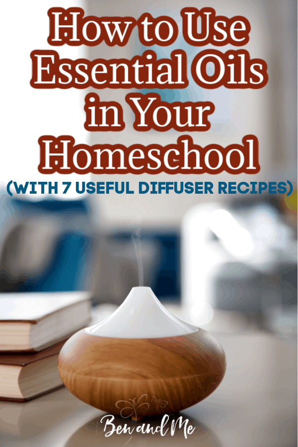 From focus and stress control to cleaning your homeschool room, school-age children can reap the benefits of using essential oils in your homeschool. Learn more about how and get 7 diffuser recipes. #homeschooling #aromatherapy #essentialoils #homeschoolmoms #essentialoilsforkids