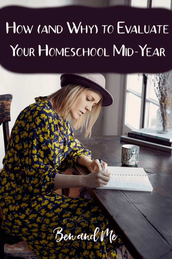 Do you evaluate your homeschool mid-year? Setting aside a little time to review what's going good, bad, right, and wrong in your homeschool can keep you from getting stressed and overwhelmed. It can also be the much needed mid-year boost to help get past the winter slump. #homeschoolmom #homeschooling