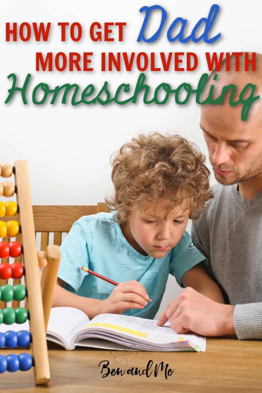 father helping his son with homeschooling
