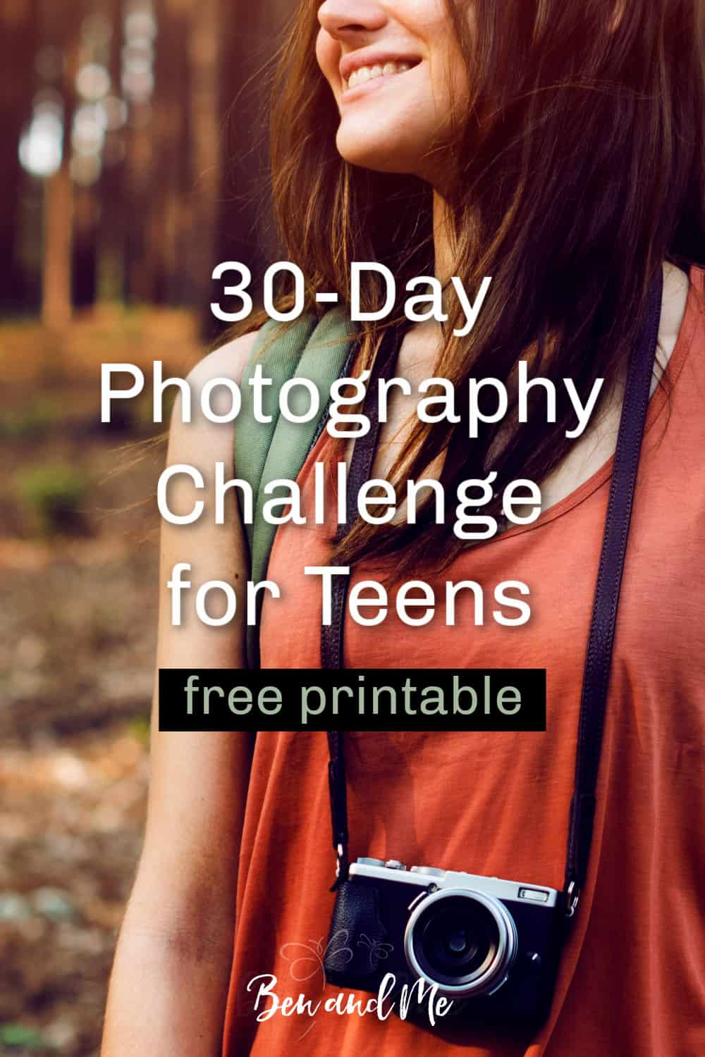 If your teenagers get bored in the summer months, this 30-day photography challenge for teens will help them improve a valuable skill. Includes a free printable to help them keep track! #homeschool #30daychallenge #photographychallengeforteens #homeschoolhighschool #summerlearning