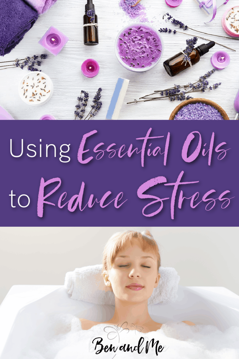 Using essential oils to reduce stress is as simple as a warm bath. Learn some of the best essential oils to use to help you relax. #aromatheraphy #essentialoils #reducestress #stessrelief #howtouseessentialoils #simplyearth