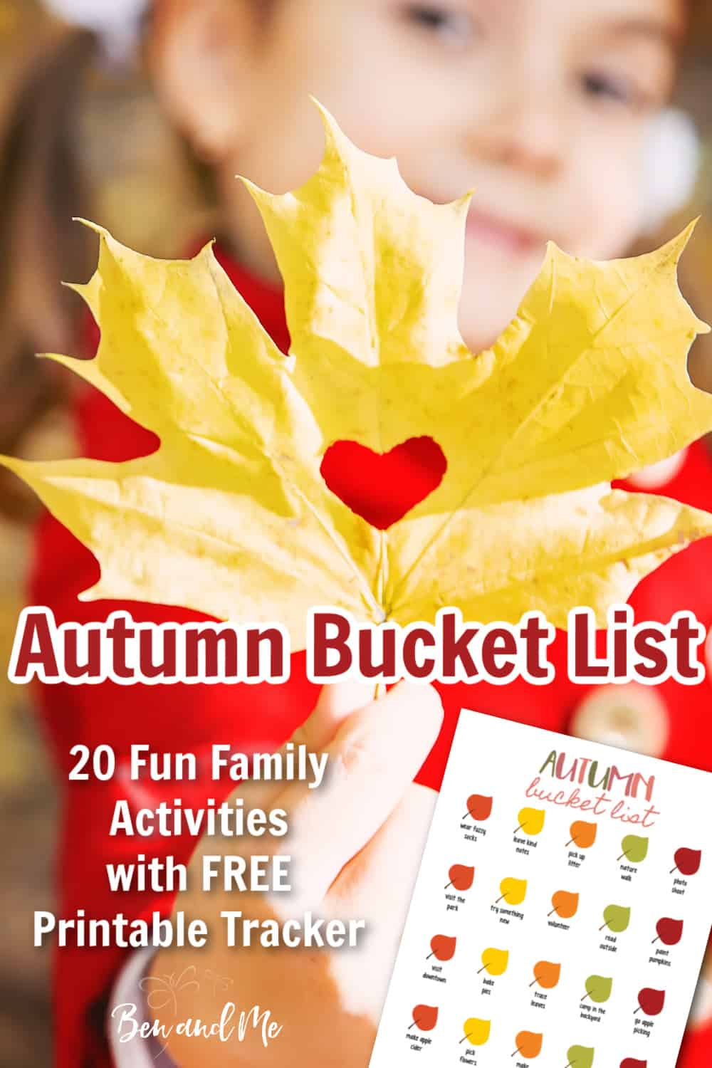 Download your free printable and get started with this Fall Bucket List. Includes 20 fun ideas for families. Print the list, make a plan, gather supplies, and get started! #fallbucketlist #autumnbucketlist #familyfun #familyactivities #itsfallyall